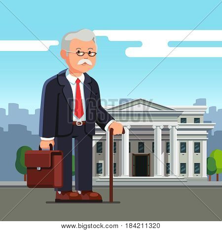 Old business man professor with suitcase standing in front of white brick court house, bank, university or governmental institution. Aged retired office worker. Flat style vector illustration.