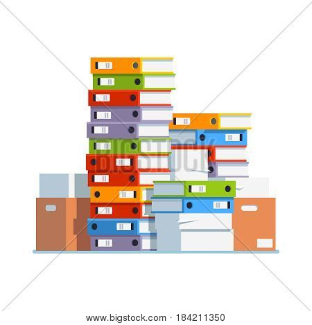 Heap of paper document file folders and cardboard boxes. Huge pile of paperwork. Bureaucracy concept. Flat style isolated vector illustration on white background.