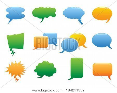 isolated color speech bubble icons on white background