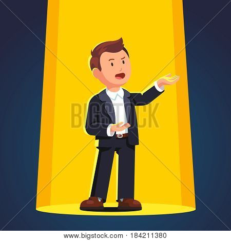 Man in formal suit singing opera song in a bright stage spot light. Flat style vector illustration isolated on white background.