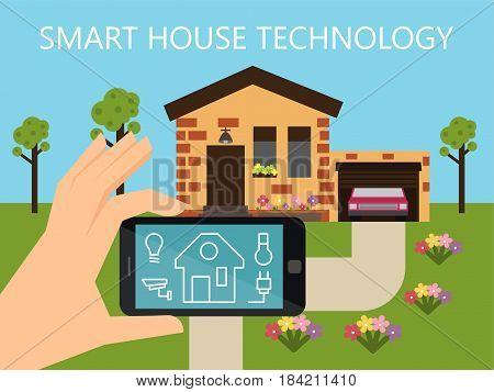 Smart house technology. Home controlling system. Flat design vector illustration