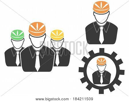 the set of engineer head icons on white