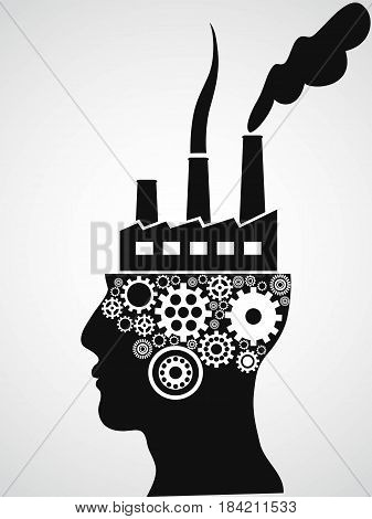 the isolated factory head from white background