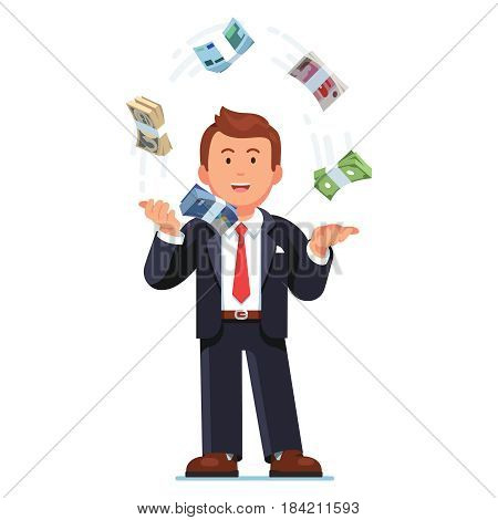 Business man juggling world reserve currencies. Speculating international money exchange rates. Trader throwing Dollars, Euros, Pounds, Yuan, Yen cash bundle straps in air. Flat vector illustration.