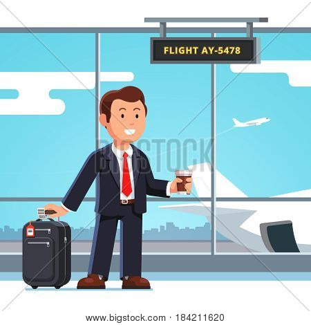 Young businessman standing with luggage wheeled boarding spinner at airport departure lounge, holding coffee cup waiting flight. Executive manager man going on business trip. Flat vector illustration.