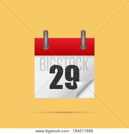 Calendar icon. Calendar date - 29th Vector illustration. Eps 10.