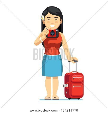 Excited Asian tourist woman standing with her luggage and wheeled boarding spinner. Chinese or Japanese girl taking photo with camera. Flat style vector illustration isolated on white background.