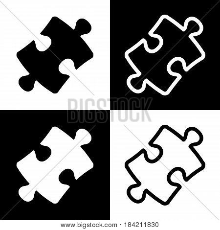 Puzzle piece sign. Vector. Black and white icons and line icon on chess board.