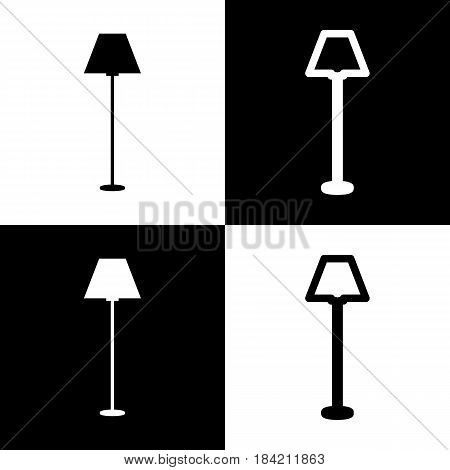 Lamp simple sign. Vector. Black and white icons and line icon on chess board.