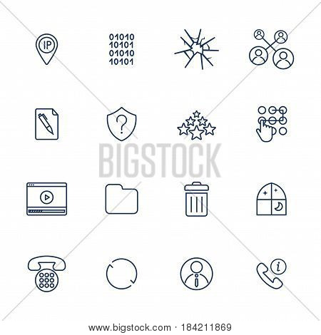 Set of 16 vector icons for software, application or websites - social media and technology. IT icons