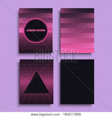 Covers with 80s style backgrounds for banners cards posters flyers. Vector illustration