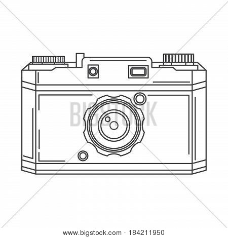 The digital and reflex camera in linear style a vector