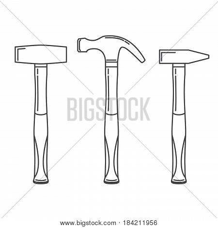 A set of hammers  in linear style a vector. Working carpenter's tool. Hammer icon.