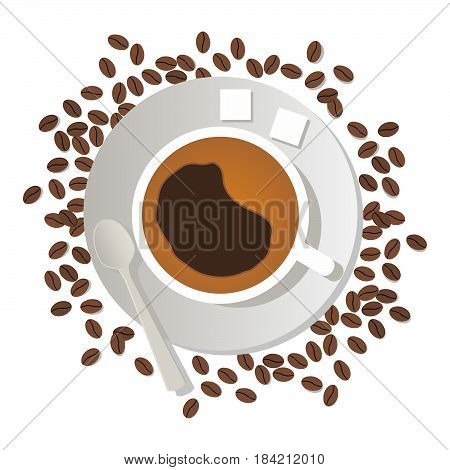 Coffee cup with lumpy sugar and a spoon on a saucer and coffee beans in flat style vector