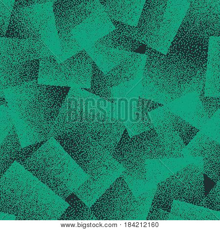 Vector Abstract Stippled Weird Hipster Seamless Pattern. Handmade Tileable Geometric Dotted Grunge Dark Green Solid Simple Background. Bizarre Art Illustration