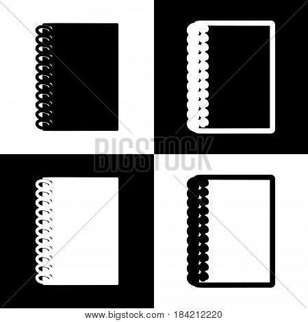 Notebook simple sign. Vector. Black and white icons and line icon on chess board.