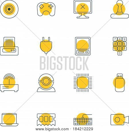 Vector Illustration Of 16 Computer Icons. Editable Pack Of Objective, Movie Cam, Gamepad And Other Elements.