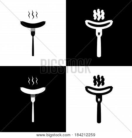 Sausage on fork sign. Vector. Black and white icons and line icon on chess board.