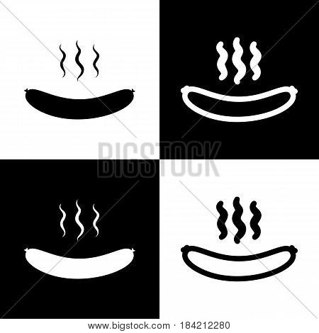 Sausage simple sign. Vector. Black and white icons and line icon on chess board.