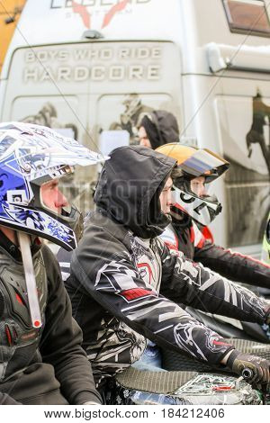 St. Petersburg Russia - 15 April, Concentration of athletes before the start,15 April, 2017. International Motor Show IMIS-2017 in Expoforurum. Sports motorcycle show of bikers on the open area.