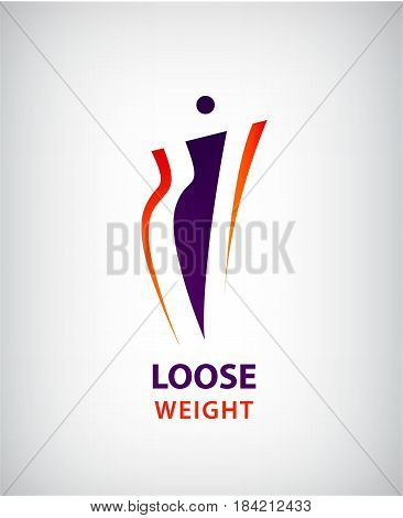 Vector woman shape, fat and slim, loose weight symbol and logo isolated