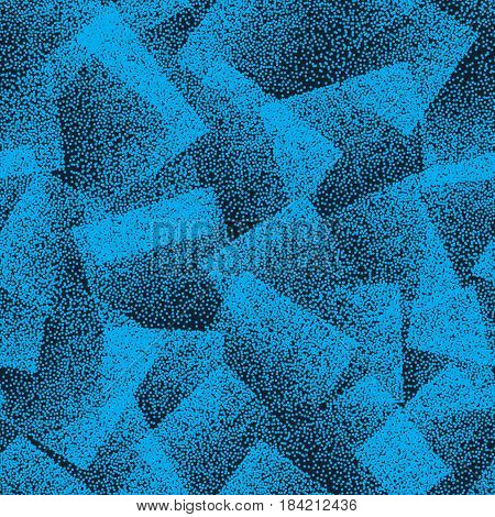 Vector Abstract Stippled Weird Hipster Seamless Pattern. Handmade Tileable Geometric Dotted Grunge Blue Solid Simple Background. Bizarre Art Illustration