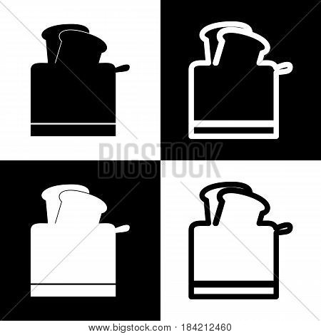 Toaster simple sign. Vector. Black and white icons and line icon on chess board.