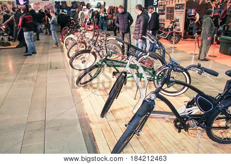 St. Petersburg Russia - 15 April, A number of exclusive bicycles,15 April, 2017. International Motor Show IMIS-2017 in Expoforurum. Motorcycles and motoconcepts presented at St. Petersburg Motor Show.