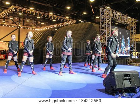 St. Petersburg Russia - 15 April, A group of hip hop dancers,15 April, 2017. International Motor Show IMIS-2017 in Expoforurum. Dance show group of teenagers in the style of hip-hop.