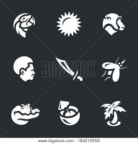 Parrot, sun, monkey, man, machete, mosquito, crocodile, coconut, palm tree.