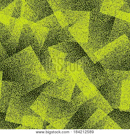 Vector Abstract Stippled Weird Hipster Seamless Pattern. Handmade Tileable Geometric Dotted Grunge Bright Green Solid Simple Background. Bizarre Art Illustration