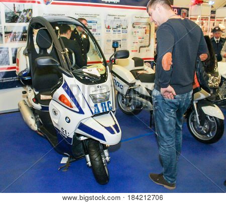 St. Petersburg Russia - 15 April, Special equipment of power services,15 April, 2017. International Motor Show IMIS-2017 in Expoforurum. Visitors and participants of the annual moto-salon in St. Petersburg.