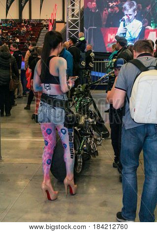St. Petersburg Russia - 15 April, A painted model of a motorcycle,15 April, 2017. International Motor Show IMIS-2017 in Expoforurum. Visitors and participants of the annual moto-salon in St. Petersburg.
