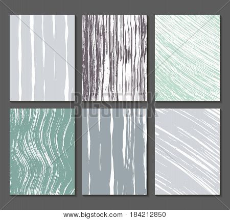 Set of 6 textures. Lines, bands, waves. Abstract shapes drawn in ink. Backgrounds in gray, turquoise and white. Hand drawn. Vector illustration.