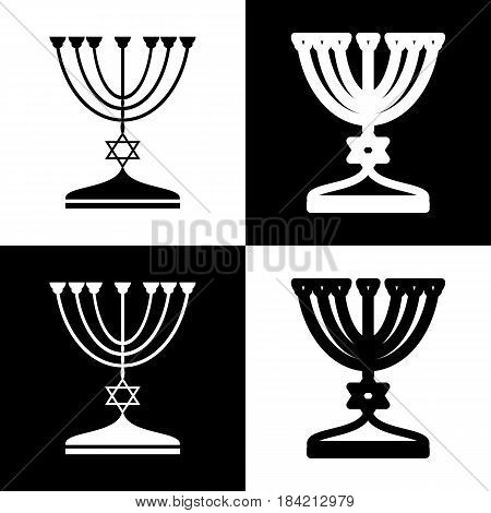 Jewish Menorah candlestick in black silhouette. Vector. Black and white icons and line icon on chess board.