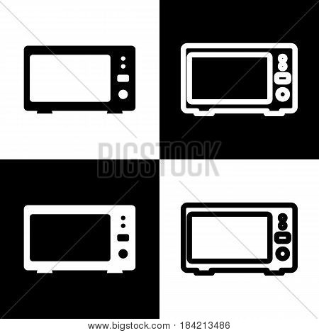 Microwave sign illustration. Vector. Black and white icons and line icon on chess board.
