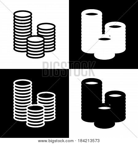 Money sign illustration. Vector. Black and white icons and line icon on chess board.