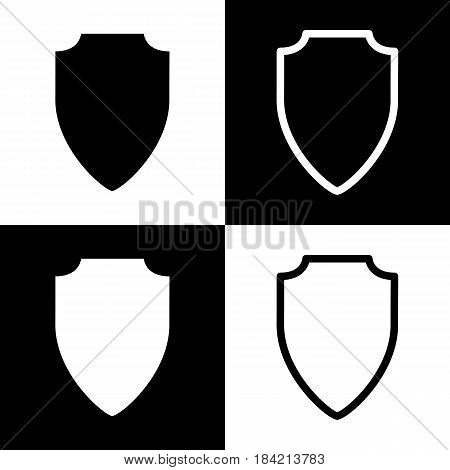 Shield sign illustration. Vector. Black and white icons and line icon on chess board.