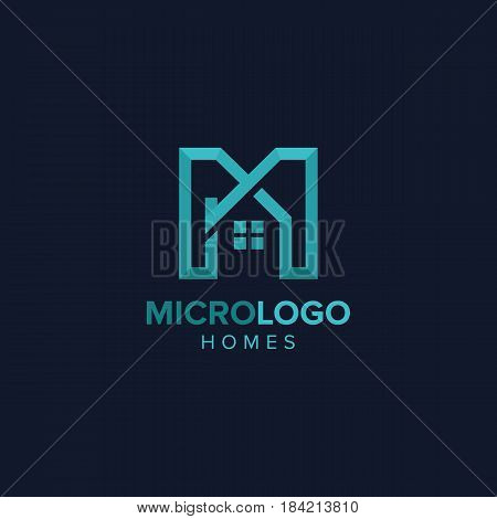 Letter M real estate logo Illustration of abstract Letter M real estate design concept