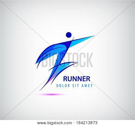 Vector sport man logo, human icon, runner, leader business winner