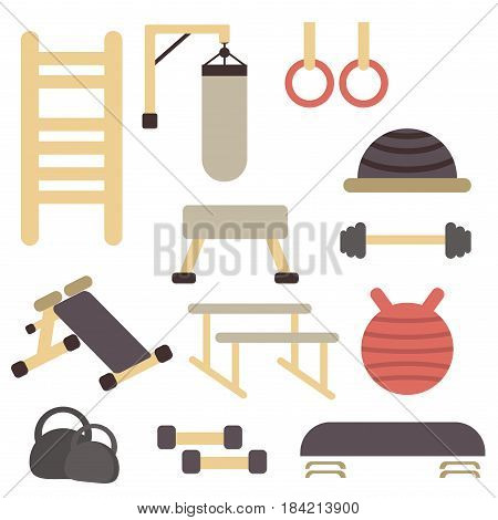 Fitness sport gym exercise equipment workout flat set vector. Vector illustration gym equipment colorful template fit club athletic machine physical strength healthy sport training.