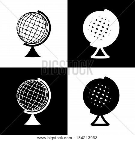 Earth Globe sign. Vector. Black and white icons and line icon on chess board.