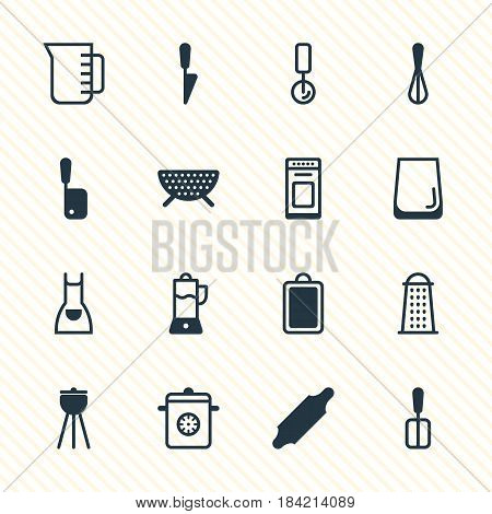 Vector Illustration Of 16 Cooking Icons. Editable Pack Of Steamer, Corolla, Chopping Desk And Other Elements.