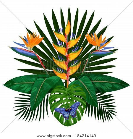 Tropical bouquet with flowers, leaves and butterfly. Tropic floral composition isolated on white background. Mock up for postcards.