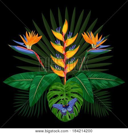 Tropical bouquet with flowers, leaves and butterfly. Tropic floral composition isolated on black background. Mock up for postcards.