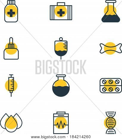 Vector Illustration Of 12 Medicine Icons. Editable Pack Of Trickle, Treatment, Vial And Other Elements.