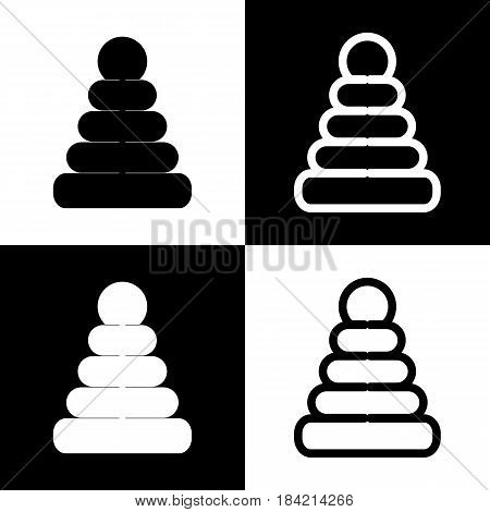 Pyramid sign illustration. Vector. Black and white icons and line icon on chess board.