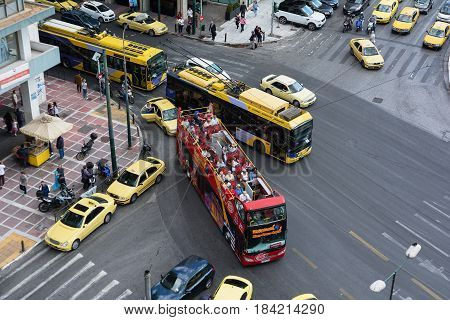 ATHENS, GREECE- SEPTEMBER 22, 2016: Top view of busy street traffic in Athens, Greece. Athens is the capital and largest city of Greece.