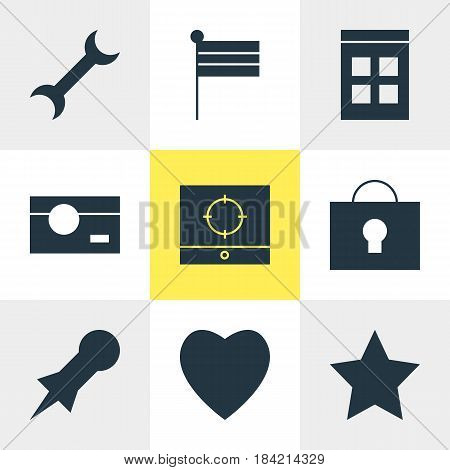 Vector Illustration Of 9 Online Icons. Editable Pack Of Love, Target Scope, Bookmark And Other Elements.