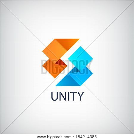 Vector abstract origami ribbon 3d dual logo, 2 parts, unity icon isolated